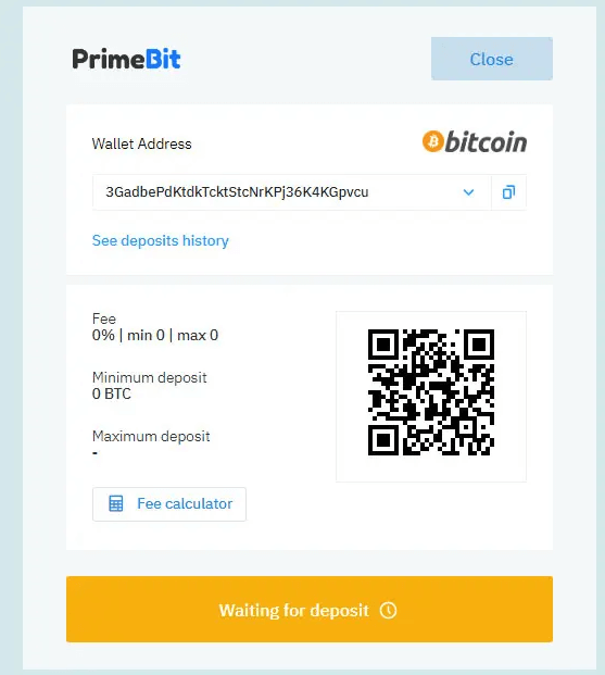 PrimeBit test deposit